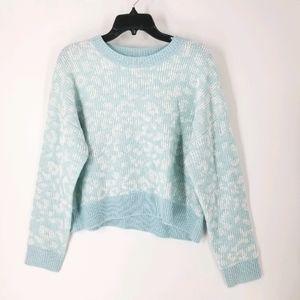 John + Jenn Baby Blue White Leopard Print Sweater S Small Women's Nordstrom